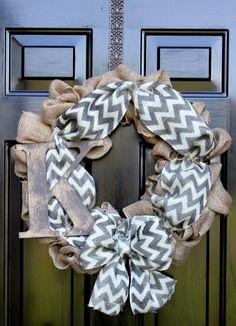 Chevron burlap wreath - Wreath for door - Summer Wreath - Mothers Day Gift - Spring Wreath - Home Decor -Gift idea via Etsy