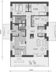 Rzut parteru projektu Dom w Luizjanie 2 Floor Plans, Floor Plan Drawing, House Floor Plans