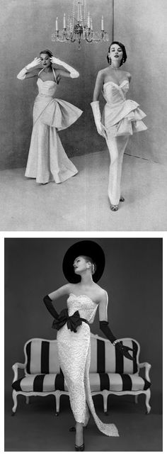 1) Dorian Leigh (r) and model in evening gowns, 1950.  2) John Cavanagh strapless evening gown, photo John French 1957.