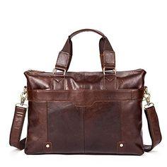 LBYMYB Full Grain Weekend Retro Crazy Horse Leather Briefcase Mens Handbag Messenger Bag Shoulder Bag Business Briefcase Color : Brown