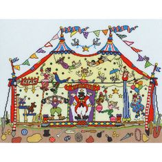 Let the circus antics begin! Designed by Amanda Loverseed for Bothy Threads as part of their Cut Thru' series of kits, this design features the inner workings of a circus tent, including what's been left beneath! Small Cross Stitch, Cross Stitch Cards, Counted Cross Stitch Kits, Cross Stitch Designs, Cross Stitching, Cross Stitch Patterns, Bothy Threads, Movie Crafts, Heritage Crafts