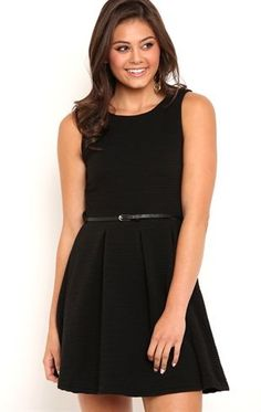 Deb Shops Texture Skater Dress with Belted Waist and Pleated Skirt $35.00