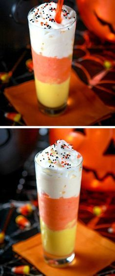 Candy Corn Milkshake | Click Pic for 22 DIY Halloween Party Ideas for Kids | Easy Halloween Party Food Ideas for Kids to Make