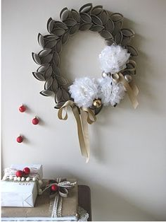 Wreath made out of toilet paper rolls.