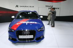 Audi car is a special one-off Audi A1 that's inspired by the Japanese National Soccer Team. Affectionately called the  A1 Samurai Blue, the one-off car has been dressed in the official colors blue and white of the Samurai Blue, the nickname given to the country's soccer team.
