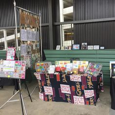 Today 's setup . Come say hi at Ponce City Market ! I'll be here until 3pm  #supportlocalartists #artmarket #bunny #hugatmebro