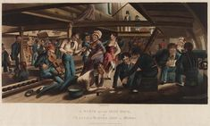 Hand-coloured. Depicts: clothing, outerwear: uniform, midshipman's [Royal navy] This scene depicts life on board a ship. During the Napoleonic Wars, sailors were rarely given shore leave in case they deserted, so they spent a lot of time on board. Here, sailors are playing cards. One sailor is reading a letter to another. Others are dancing to music from a sailor playing the fiddle. In the background there are two women fighting one another.  Date made	1 Jun 1820