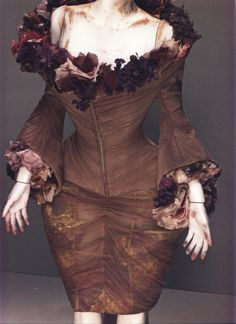 Alexander McQueen Spring/Summer 2007 Ensemble, Sarabande Mauve silk with silk flowers and fresh flowers Photographed by Sølve Sundsbø for Alexander McQueen: Savage Beauty