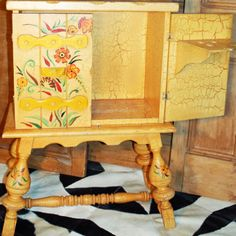 Coronado Furniture Co. bar in yellow crackle finish with hand painted floral details. Wonderful addition for entertaining! Hacienda Decor, Spanish Revival, Furniture Companies, Native American Indians, Hope Chest, Custom Furniture, Built Ins, Decorative Boxes, Hand Painted