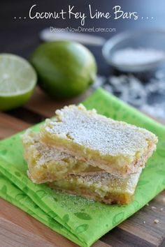 Coconut Key Lime Bars - toasted coconut shortbread crust with a lime curd and coconut flake topping. | DessertNowDinnerLater.com #coconut #keylime #lime #bars #dessert