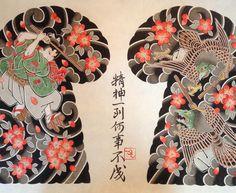 牛若丸と烏天狗 #ushiwakamsru #karasutengu #japanesetattoo #horitsubaki #彫椿 #越前和紙 #岩野平三郎
