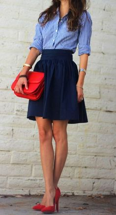 striped button-up, navy midi skirt, and red heels