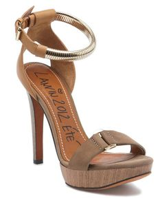 LANVIN Leather Belted Ankle-Wrap Sandal