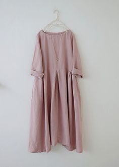 핑크 주름 린넨원피스