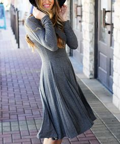 Another great find on #zulily! Charcoal A-Line Dress #zulilyfinds