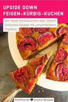 Heute steht der Kuchen Kopf: Dieses Kürbisrezept ist super einfach und geschmacklich der Hit! Der umgedrehte Feigenkuchen ist ein echter Hingucker und dabei ganz leicht zu machen. Das Rezept ist natürlich variabel - statt Feigen kannst du auch Äpfel oder Birnen nehmen.   #landleben #apfelkuchen #birnenkuchen #glutenfree #herbstkuchen Easy Peasy, Good Food, Favorite Recipes, Breakfast, Autumn Cake, Super Simple, Country Living, Apple Pies, Food Items