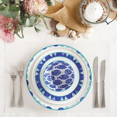 10 Beautiful & Bold Dinnerware Sets for Your Summer Table | LC Living Dinnerware Inspiration, Green Opal, Table Set Up, White Dishes, Dinnerware Sets, Watercolor Illustration, Rustic Style, Color Patterns, Floral Design