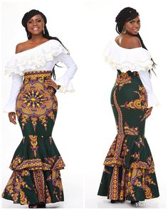 Ankara high waisted figure hugging long skirtWear something that says 'here I am' today. African Dresses For Women, African Wear, African Fashion Dresses, Fashion Outfits, African Clothes, African Style, Women's Fashion, Ankara Skirt And Blouse, Ankara Dress