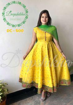 Beautiful Yellow Color Floor Length Anarkali Dress With Green Net Dupatta