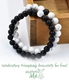 - ⚪️ FREE CELEBRATORY FRIENDSHIP BRACELETS ⚫️  -  We are celebrating our online store opening by celebrating friendship! Those who will make you smile when you are having the worst day, and be there to have a profound 2AM conversation about the universe, are everything to us at Meditative Me. Tag a friend, and get you guys our celebratory friendship bracelets for FREE + affordable shipping!