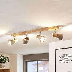 Four-bulb wooden LED ceiling light Filiz, concrete Silver Floor Lamp, Floor Lamps, Farmhouse Lamps, Led Ceiling Lamp, Wooden Ceilings, White Table Lamp, White Lamps, Scandinavian Interior Design, Led Lampe