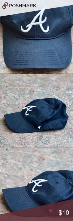 47 brand Dark navy A Atlanta Braves baseball cap Navy Atlanta Braves cap. One size. Adjustable. Basic logo. Good pre-loved condition. No signs of wear just light fading of the color. 47 Brand Accessories Hats