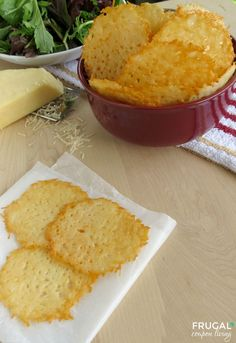 If you love cooked cheese check out these heavenly Homemade Parmesan Cheese Crisps - so yummy and perfect with a salad. Recipe on Frgual Coupon Living.