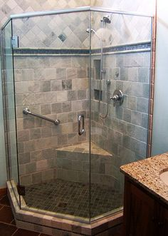 Maine Shower Door shows pictures of neo angle frameless enclosures it has done around the state and offers an explanation of the different kinds. Walk In Bathroom Showers, Small Bathroom, Master Bathroom, Frameless Shower Doors, Glass Shower Doors, Shower Niche, Neo Angle Shower, Shower Remodel, Modern Bathroom Design