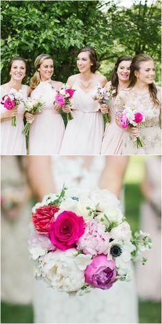 Pink bridesmaids, white peonies, pink roses, bouquet // Becka Pillmore