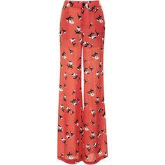 10 Crosby Derek Lam Printed Silk-Blend Wide Leg Pant ($325) ❤ liked on Polyvore featuring pants, bottoms, trousers, jeans, calças, watermelon, zipper pants, flower print pants, floral print wide leg pants and floral wide leg trousers