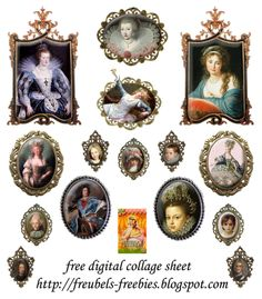Free Digital collage sheet, little vintage charms