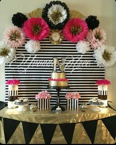 Kate Spade inspired black white pink and gold. Paper flowers decor birthday party decor by DeeDeeBean Kate Spade Party, 30th Birthday Parties, Gold Birthday, Cake Birthday, 60th Birthday Ideas For Mom Party, Birthday Balloons, Baby Shower, Shower Cake, Festa Party
