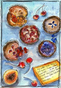 Tarts Galore by Sharon Furner Watercolor, Pen, Colored Pencil ~  x