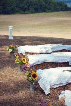 Hay Bale Seating At Wedding