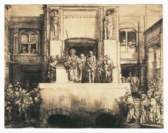 Christ Presented to the People - Rembrandt Harmenszoon van Rijn | Art Prints, Etching and drypoint; 8th state