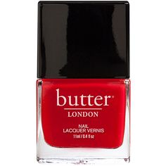 butter LONDON Nail Lacquer, Pillar Box Red 0.4 oz (11 ml) ($15) ❤ liked on Polyvore featuring beauty products, nail care, nail polish, nail, beauty, nail varnish, nail color, opi nail lacquer and butter london nail polish