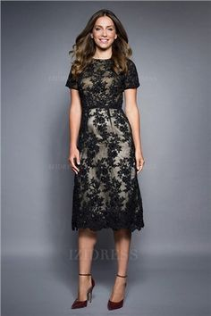 Sheath/Column Jewel Tea-length Lace Mother of the Bride Dress