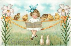 Vintage Easter Greetings - The Daily Postcard: Easter Greetings Easter Greeting Cards, Vintage Greeting Cards, Vintage Postcards, Vintage Easter, Vintage Holiday, Easter Illustration, Foto Transfer, Easter Wishes, Easter Parade