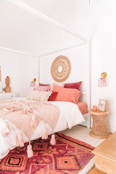 The Mindwelling: Our Master Bedroom Reveal Bohemian Bedroom Decor Bedroom Master Mindwelling Reveal Bedroom Red, Home Decor Bedroom, Modern Bedroom, Pink Bedrooms, Bedroom Inspo, Peach Bedroom, Moroccan Bedroom Decor, Diy Bedroom, Minimalist Bedroom Boho