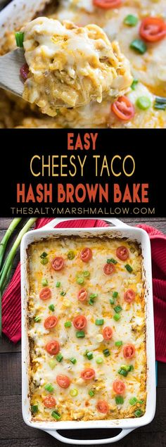 Taco Hash Brown Casserole An easy weeknight dinner! Cheesy hash brown casserole with taco flavor!An easy weeknight dinner! Cheesy hash brown casserole with taco flavor! Hashbrown Casserole Recipe, Hash Brown Casserole, Easy Casserole Recipes, Casserole Dishes, Taco Casserole, Chicken Casserole, Mexican Food Recipes, Beef Recipes, Cooking Recipes