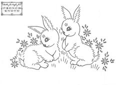 bunnies embroidery pattern
