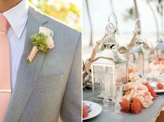 How To Create A Peach And Coral Colour Themed Wedding With Your Centrepieces and Buttonholes