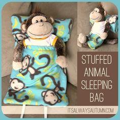 Make a bunch of these for the kids for Christmas!  DIY stuffed animal sleeping bag