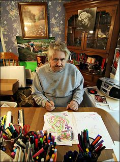 "I spent the last few days thinking, ""Damn it, I have a new famous person that I like and I know there's something I'm supposed to do when I do that but I don't remember what it is."" It was pinterest. Here's Daniel Johnston."
