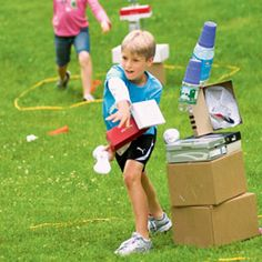 Toppling towers, fun outdoor game.