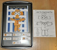 """The """"Label the Gingerbread Man Parts,"""" Cookie Sheet Activity is a labeling and identification activity that compliments the story, """"The Gingerbread Man.""""  In this activity, students label the parts of a Gingerbread Man.  This activity includes two levels of matching:  words with picture prompts and just words."""