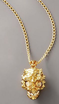 ☆ Rock Out with Alexander Mcqueen Gold Studded Skull Pendant Necklace ☆