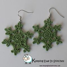 The Snow Pea Green Snowflake Earrings are a muted deep green. They will look great with your autumn and winter wardrobe. Honestly, I don't think there is a season this color doesn't look great!  Crochet with 100% Egyptian cotton and hypoallergenic Stainless Steel earring hooks.  Snow Pea Green Snowflake Earrings are light and flexible. You will barely feel them as you go about your day. Looking great and not feeling weighed down? What more can you ask for?