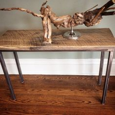 Salvaged Wood combined with unpainted steel legs for a modern console table or narrow side table. Narrow Side Table, Modern Console Tables, Salvaged Wood, Repurposed, Entryway Tables, Sculptures, Legs, Steel, Furniture
