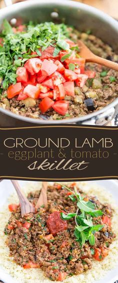 Put a little bit of exoticism on the table tonight with this Ground Lamb Eggplant Tomato Skillet! Serve on a bed of couscous, white rice, or cauli-rice, if you want to keep things paleo! Pork Recipes, Wine Recipes, Recipies, Ground Lamb Recipes, Healthy Cooking, Healthy Eating, Healthy Italian Recipes, Eggplant Recipes, Eggplant And Ground Pork Recipe